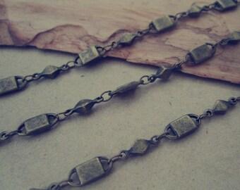 6.5ft (2m) 4x10mm Antique bronze ( copper ) Lock shape chains
