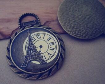 5pcs of Antique bronze Eiffel Tower With Clock  pendant charm 34mm