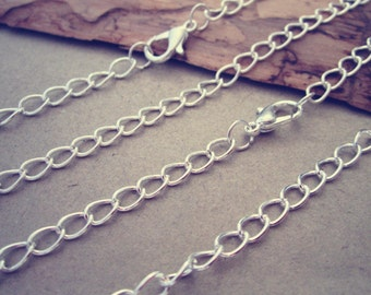 12pcs 75cm Silver color chain necklace with lobster clasp 4mm