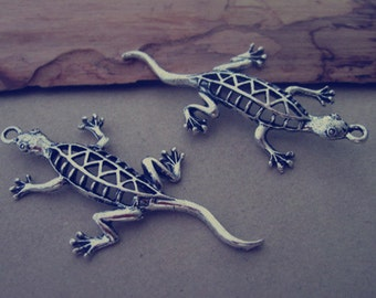 6pcs  Antique silver lizard charm pendant  25mmx50mm