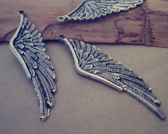 10pcs antique silver wings pendant  Charms 17mmx62mm
