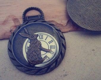 5pcs Antique bronze Clock With rabbit  pendant charm 34mm