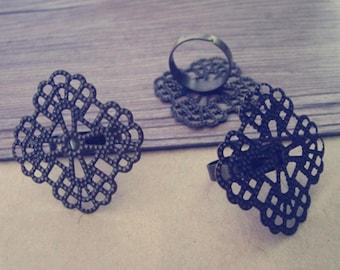 8pcs Adjustable antique bronze square Flower shape Ring Tray Blanks 36mm