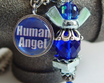 Human Angel 911 Tribute Necklace, Cobalt Blue & Silver Wing Nut...Never Forget