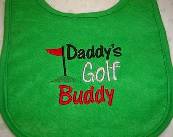 Golf Bib - Daddy's Golf Buddy Green Bib - Baby Bib Baby Boy or Girl Green Bib Embroidered - Baby Golfing Bib