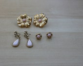Lot of Jewelry Gold Tone and Peach Pink Beads - Floral Earrings