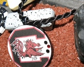 University of South Carolina USC Gamecocks UPcycled Recycled Poker Chip Necklace II With Swarovski Crystal Bling