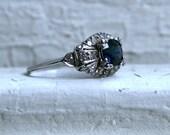 RESERVED - Classic Vintage Art Deco Platinum Diamond and Sapphire Art Deco Ring - 1.32ct.