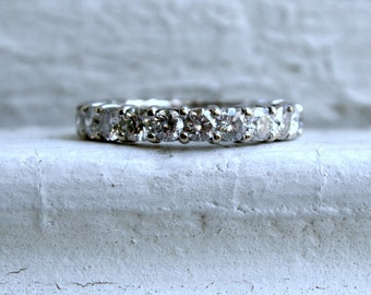 Vintage 14K White Gold Diamond Eternity Wedding Band - 3.30ct