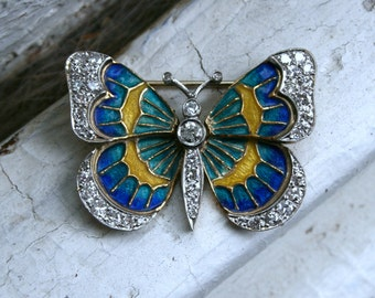 Vintage Diamond and Enamel Butterfly Brooch in 14K Yellow/ White Gold.