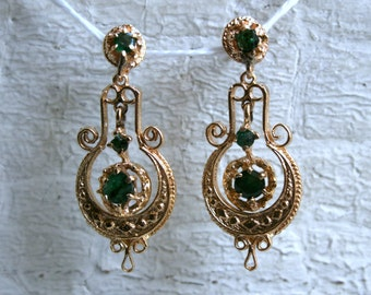 Victorian 14K Yellow Gold and Emerald Chandelier Earrings.