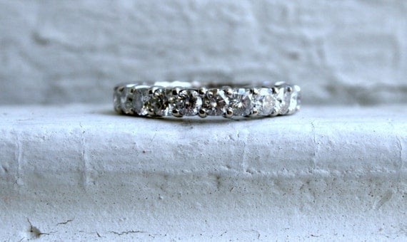 Super Sparkly Vintage 14K White Gold Diamond Eternity Wedding Band - 3.30ct