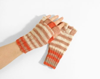 Hand Knitted Fingerless Gloves - Brown, White, Orange, Size Extra Small