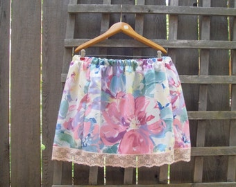 Funky Floral Eco Skirt/ Upcycled Pillow Case Skirt/ Pink Teal Elastic Waist Skirt XL