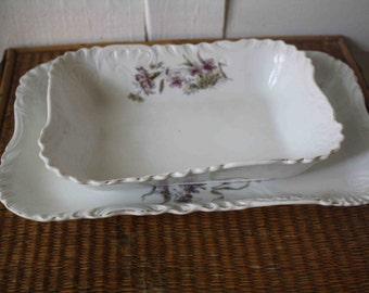 Vintage white platters with purple flowers, Austria