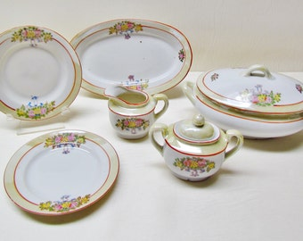 Vintage toy china dishes, 6 piece china set made in Japan, 1930's partial toy tea set