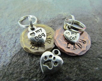 Small Pet ID Tag - I Love My Dog or My Cat - Dog Tag - Engraved - Hand Stamped Copper or Brass - Dog collar tag- Pet Accessory - Pet Lover