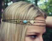 geometric turquoise chain head piece, chain headband, triangle headband, metal headband, unique headband