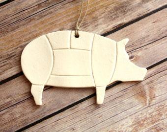 Pig Ornament, Handmade Pig Christmas ornament - Pig Diagram, Pork Chart Ornament - Ceramic Pig Ornament with Butcher Diagram Pattern
