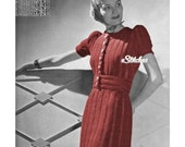 1930s Puff Sleeve Ribbed Dress with Belt  - Knit pattern PDF 3312