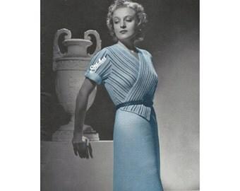 1930s Surplice Wrap Front Dress with Stripes plus Slim Skirt - Knit pattern PDF 5117