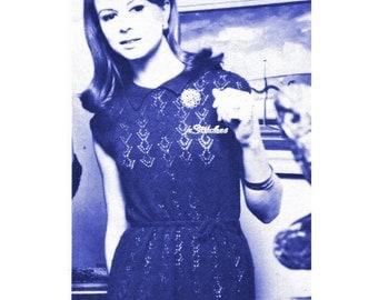 Vintage Lace Dress with Short Cap Sleeve - Knit pattern PDF 5134