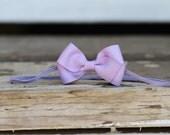 Lilac butterfly headband on skinny elastic