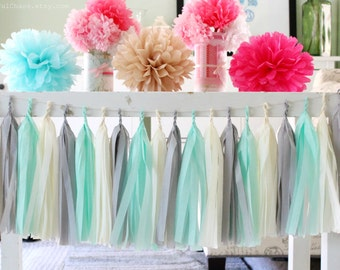 Mint Green, Grey, Cream, Tissue Paper Tassel Garland- Wedding, Birthday, Bridal Shower, Baby Shower, Party Decorations