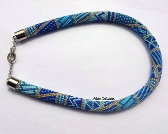 AN011 - Bead Crochet Necklace - Blue Beaded Necklace - Handmade Beadwork Necklace - Blue Colors Bead Necklace