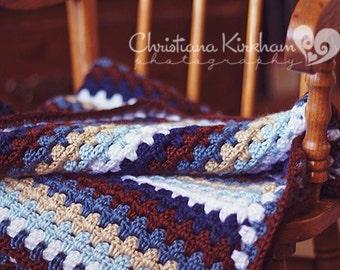 Blue Granny Stripe Blanket