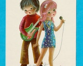 Vintage post card from the 70s. Cute boy and girl making music.