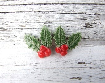 Holly earrings, red, green ceramic stud posts, handmade, Winter fashion