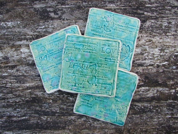 4 Rustic coasters set green turquoise crackle glaze love words butterflies MADE TO ORDER
