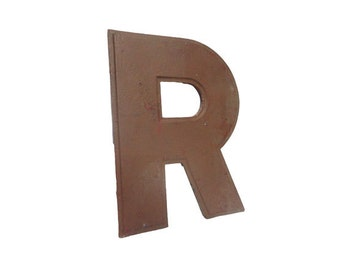 CLEARANCE Vintage Sign Capital Letter 'R' - Vintage Sign Letter, Industrial Letter, Aluminum Salvage, Advertising, Reclaimed Rustic Initial