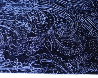 Blue Paisley Velvet Plush Fabric Textile