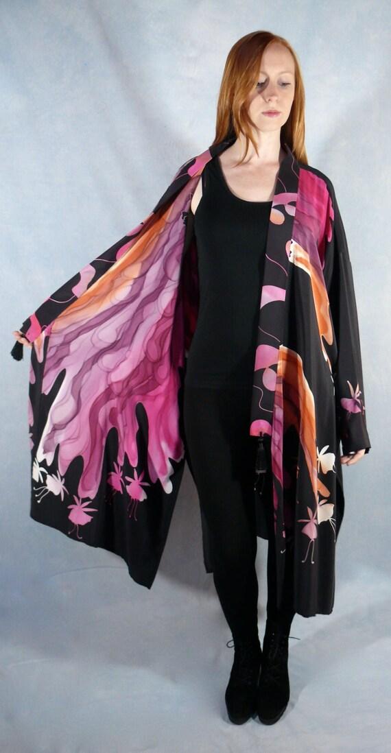 Hand Painted Silk Kimono featuring Fuchsia Flowers in plum, eggplant, magenta, burnt orange, black