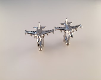 F-16 Fighting Falcon Cufflinks, Jet Fighter Cufflinks, Plane Cufflinks, Men's Cuff Links, Wedding Cuff Links, Father's Day, Silver Tone