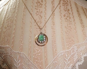 Gold Filled Necklace and Earrings Set Green Stone with Rhinestones 14K gold Chain