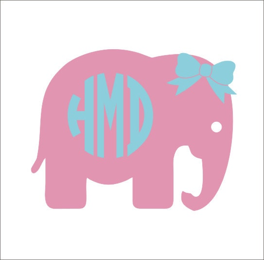 Elephant Monogram With Bow Car Decal Circle By
