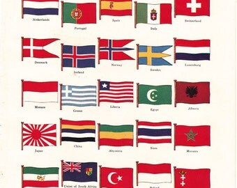 vintage print of National Flags, from the 1930's