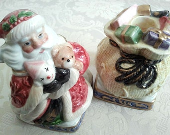 Fitz and Floyd Omnibus Christmas Santa and Toy Sack Taper Candle Holder Pair Set