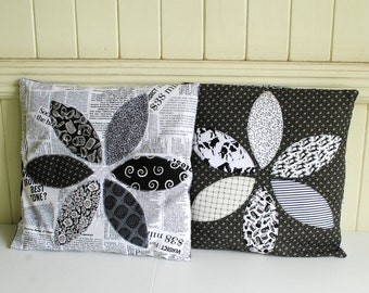 Black and White Pillow Covers - Set of 2 - Orange Peel design - Appliqué