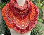 Crochet Scarf, Road Trip Scarf, Triangle Scarf, Crochet Wrap, Crochet Shawl, Versatile Accessory