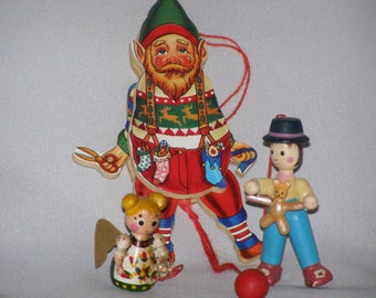 Vintage 70s Wooden Character Christmas Ornaments (3)