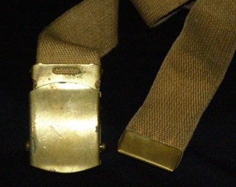 "1940's Solid Brass Buckle and tipped Belt Reversible Washable 33"" Military/Scouts"