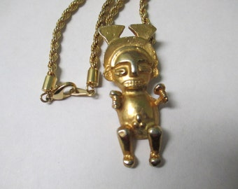 Vintage gold tone Aztec fertility idol necklace with rope style chain no markings