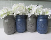 Painted and Distressed Ball Mason Jars- Navy Blue and Gray-Set of 4-Flower Vases, Rustic Wedding, Centerpieces