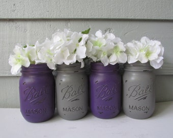 Painted and Distressed Ball Mason Jars- Dark Purple and Gray-Set of 4 Flower Vases, Rustic Wedding, Centerpieces