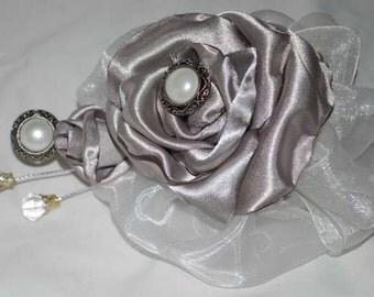 Fabric Flower Corsage - Handmade