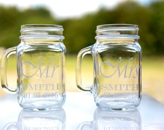 Personal Wedding Party Glass Gift Etched Engraved Personalized Mr. and Mrs. Mason Jars Mugs